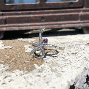 Amethyst Sterling Silver Starfish Ring Sz 7
